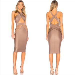 MICHAEL COSTELLO X REVOLVE Philip Midl Dress Taupe